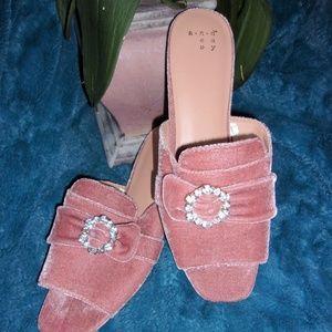 Shoes - womans 9 1/2 dress pink rhinestone flat shoe